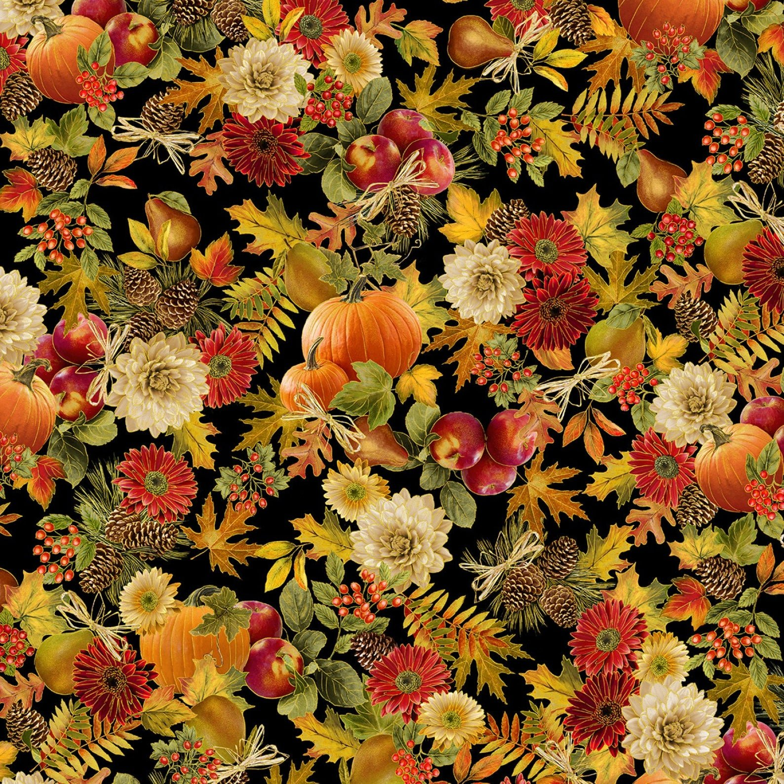 Timeless Treasures Harvest CM7655 Black Harvest Foliage Pumpkin Apples Fall Leaves