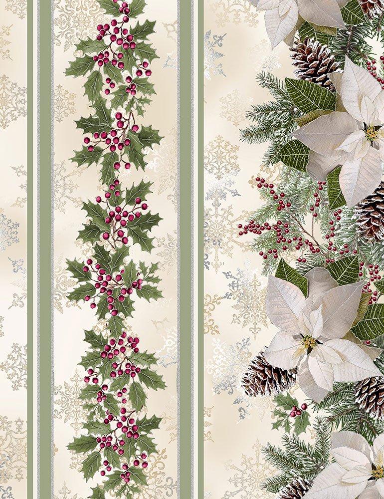 Timeless Treasures - A Very Merry Christmas - Holiday CM6963 Cream - Holly Poinsettia Pine 11 Stripe