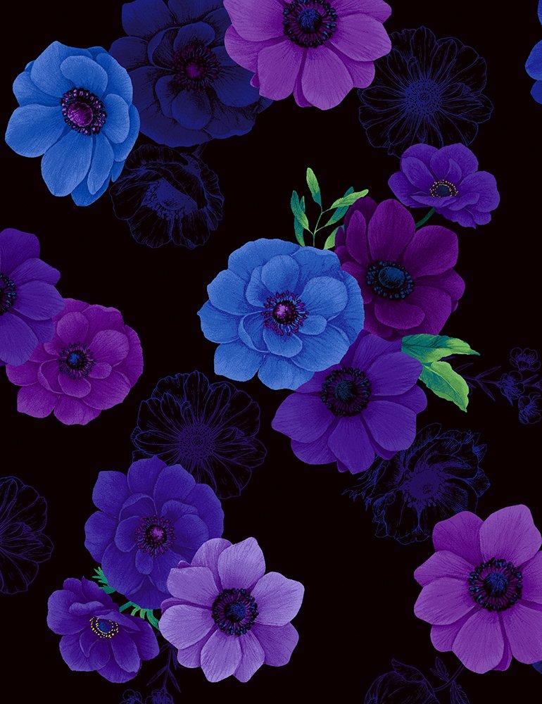 Timeless Treasures - Misty: CD6842 Black All Over Flowers- Digital Fabric