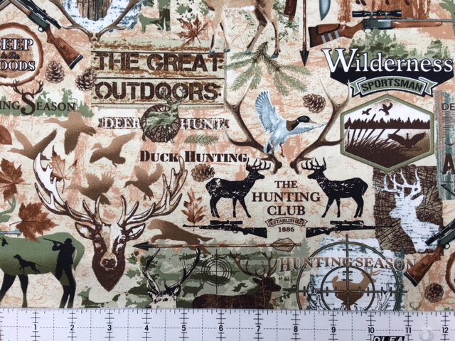 Timeless Treasures Deep In The Woods C6684 Deer Duck Hunting Fabric