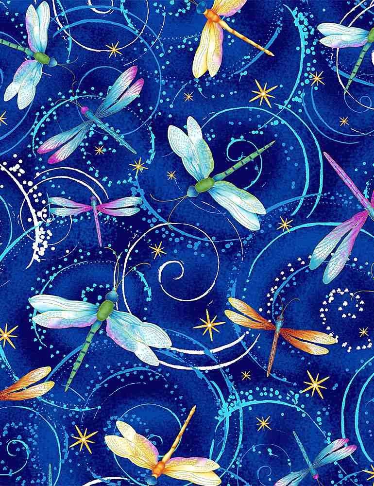 Timeless Treasures - Dancing Dragonflies CM8235 Blue Metallic