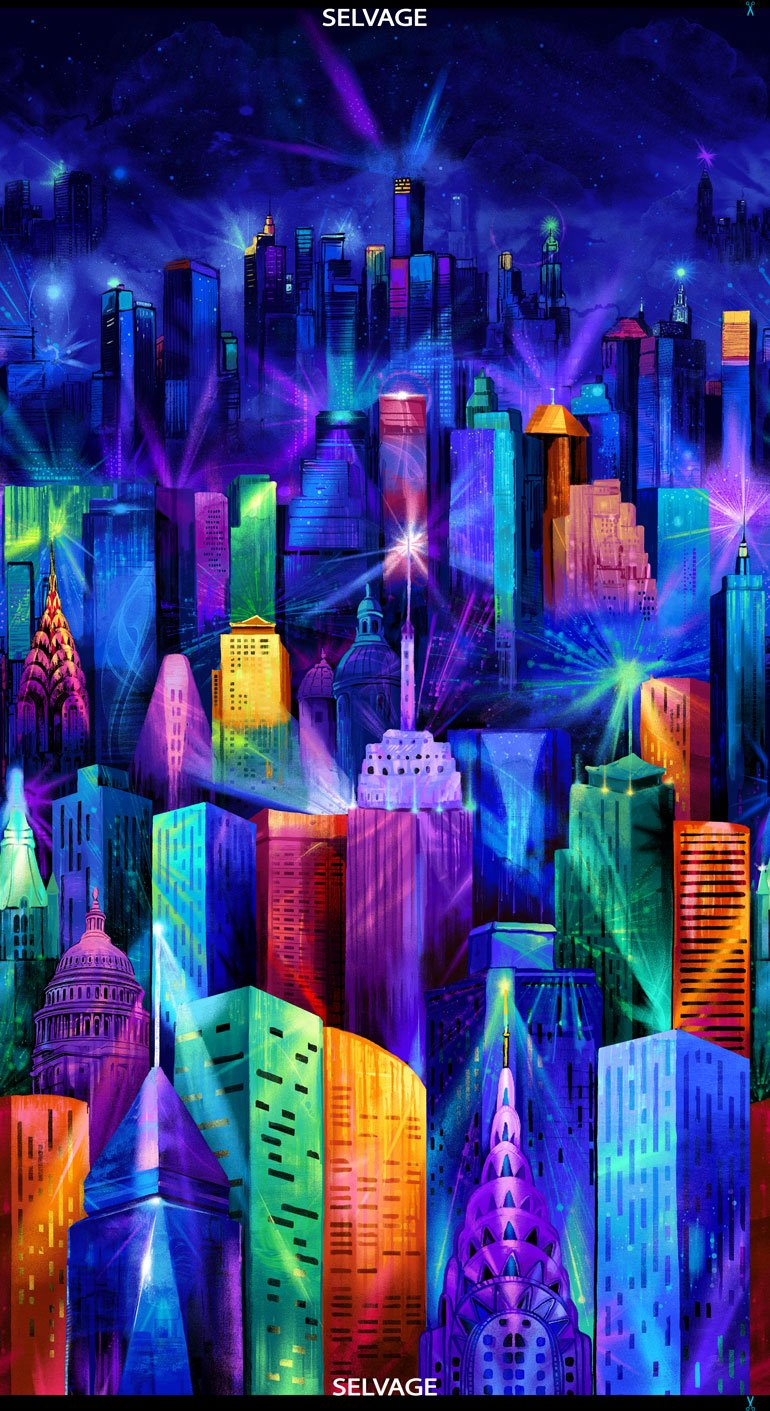 Timeless Treasures C7306 Multi PANEL - Electric Skyline from Nightlife Collection