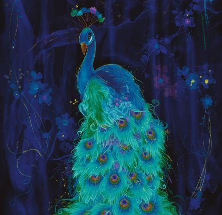 Timeless Treasures Moonlight Plume - Peacock Panel CM6409 Midnight