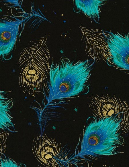 Timeless Treasures Moonlight Plume - Falling Feathers Peacock CM6410 Black