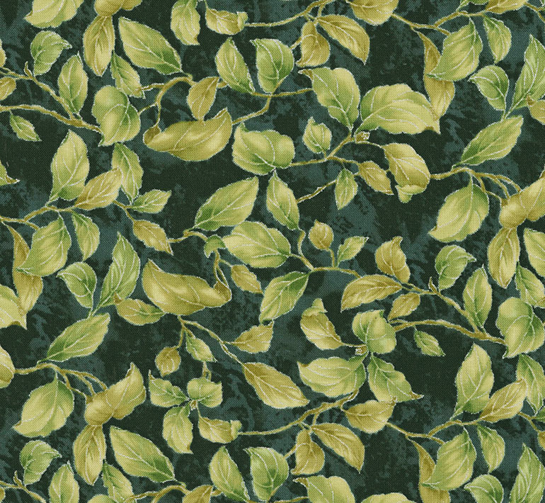Timeless Treasures - Feathered Peacock Leaves and Buds - Plume CM6460 Forest