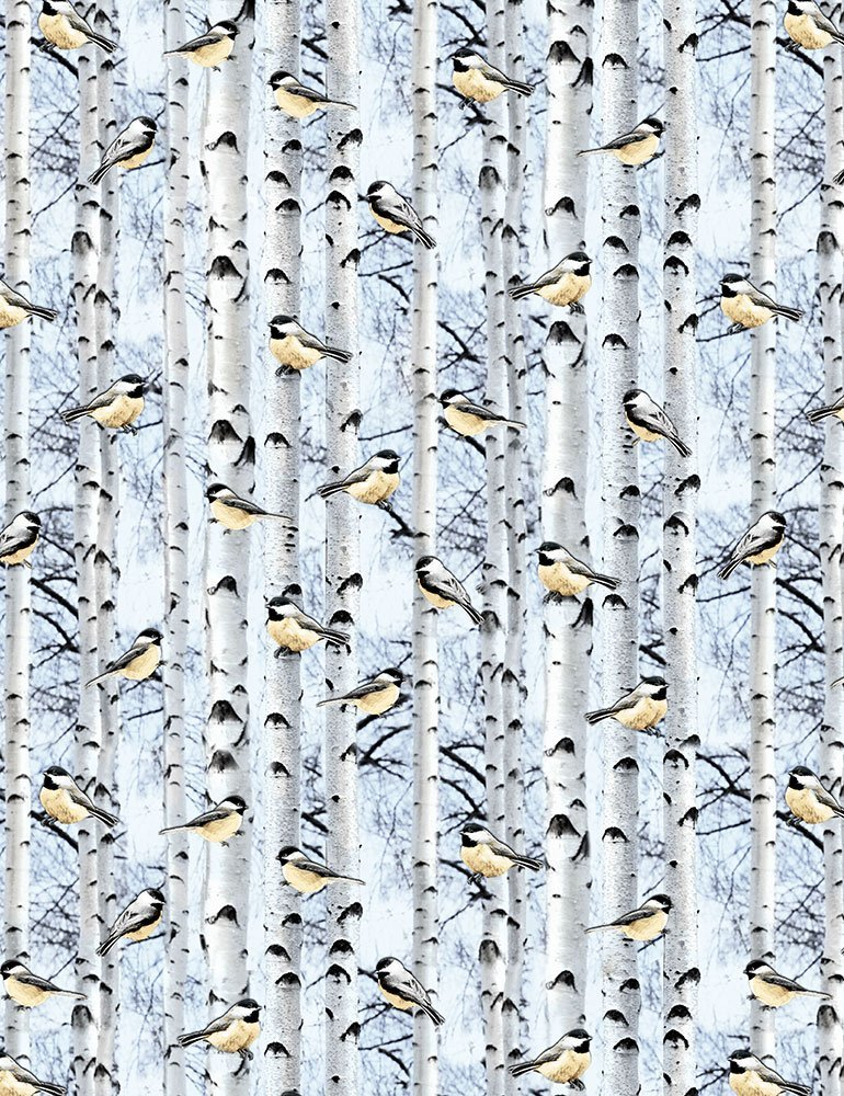 Timeless Treasures - Snowscape | Winter C6128 Powder - Chickadee Snowbirds