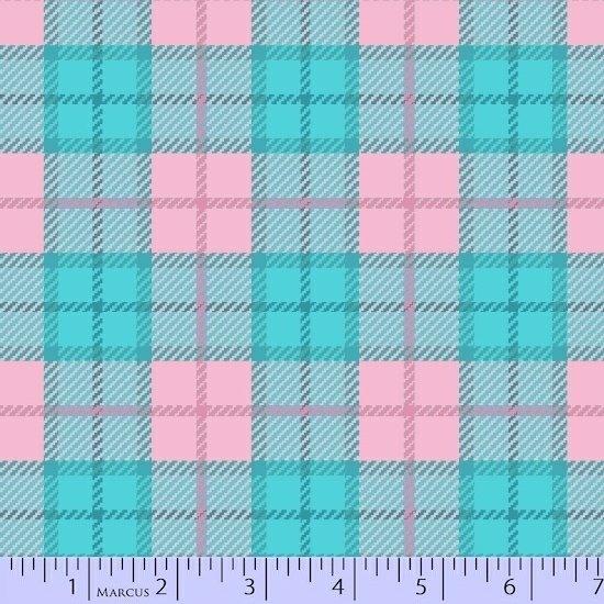Marcus Sew Sweet Flannel U055-0125 Pink Aqua - by Sarah J Maxwell / Primo Plaid