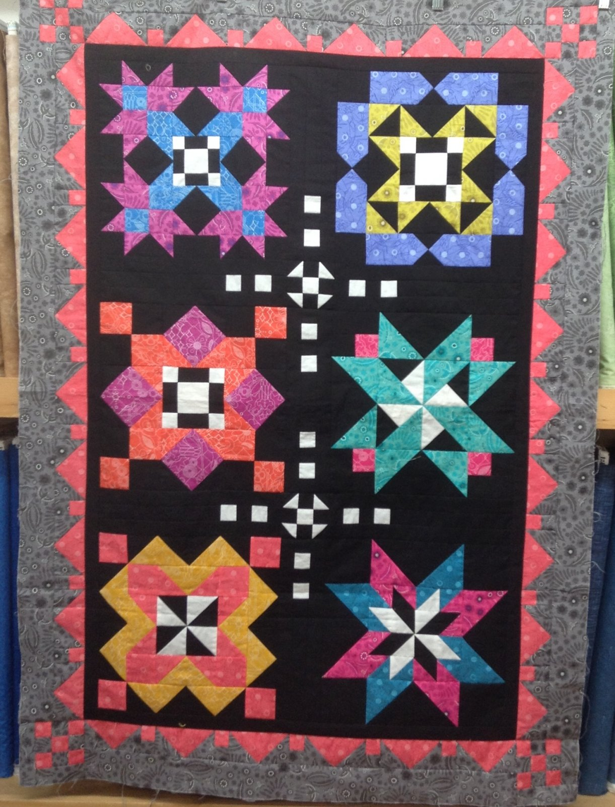 QUILT TOP FOR SALE - UNFINISHED- Sun Prints Modern 6 blocks 51x36