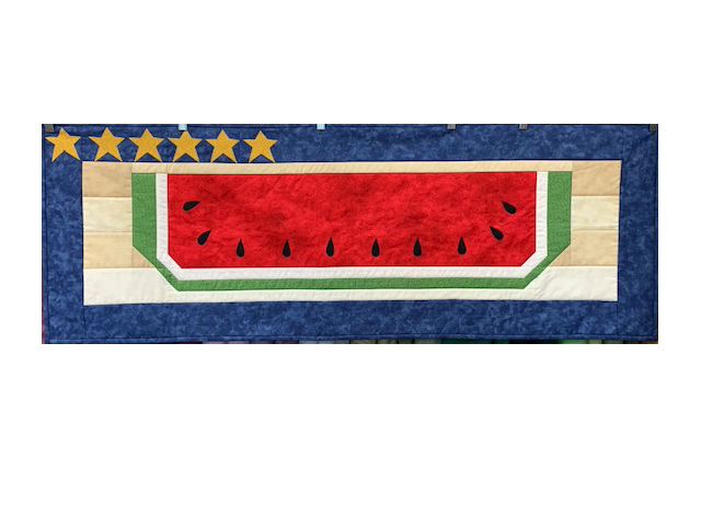 Table Runner For Sale:  Watermelon and Stars Table Runner