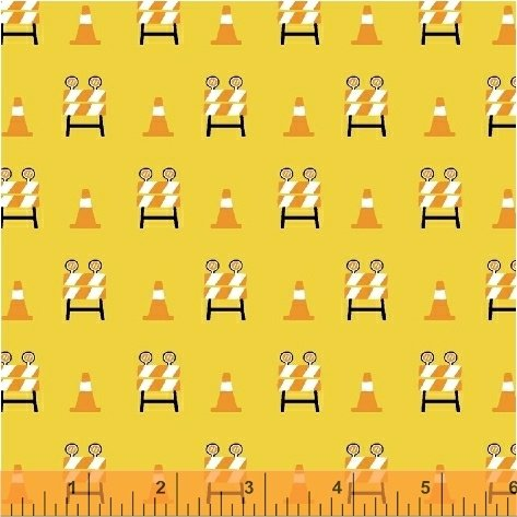 Windham Fabrics The Big Dig | Barricade Cones Yellow 42928 8