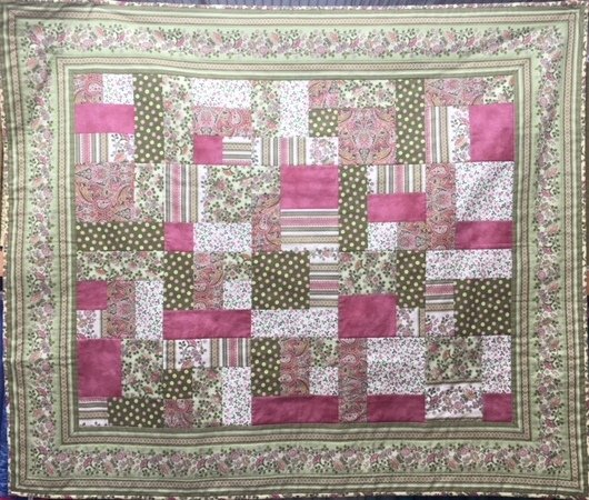 Yellow Brick Road Quilt Kit - Green Pink Florals