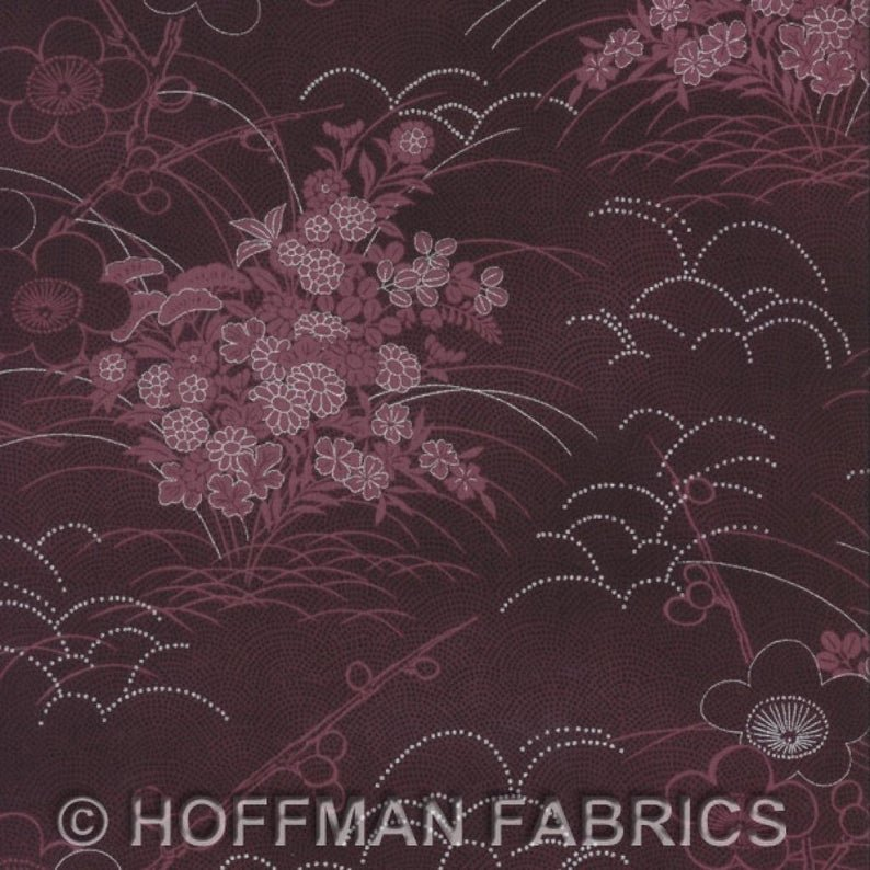 Hoffman Asuka collection floral wine fabric with metallic silver highlights