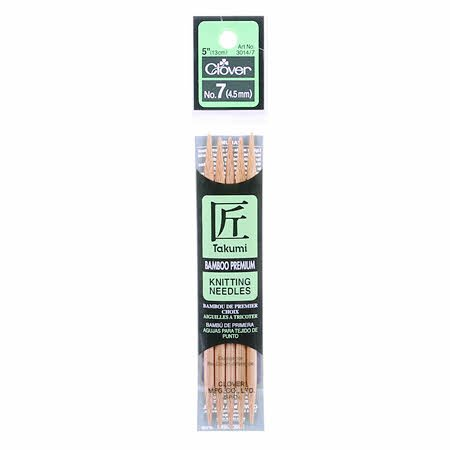 Clover Takumi Bamboo 5in Double Point Knitting Needle Size 7