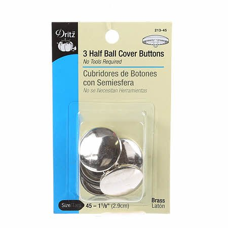 Button Cover Half Ball Size 45  - 1-1/8in