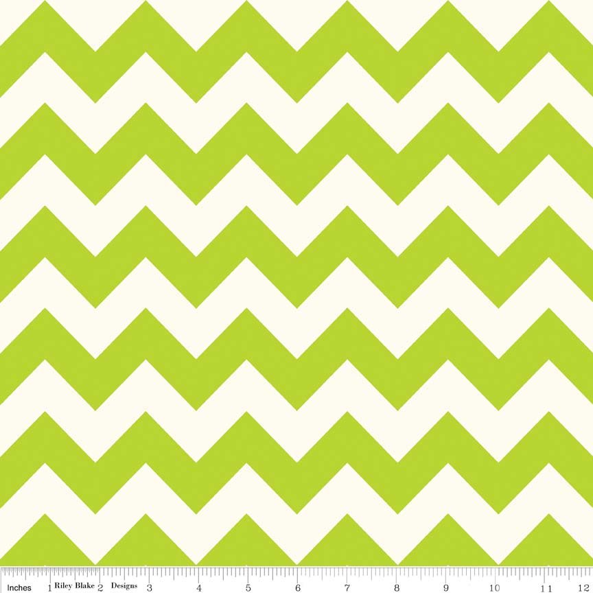 Lime and Creme Chevron
