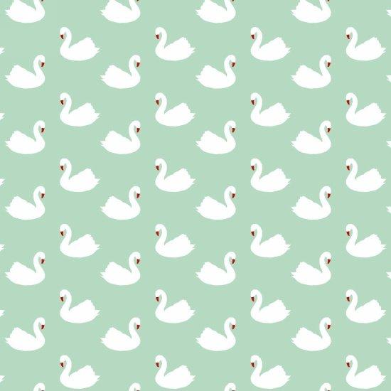 Retro Charm - Mint Swans