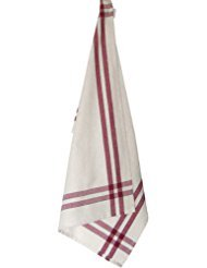 Tea Towel Cranberry/Cream with Green Stripe