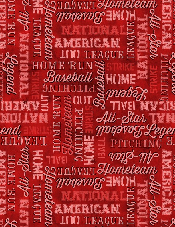 Q - 7th Inning Stretch - Baseball Words Allover - Red