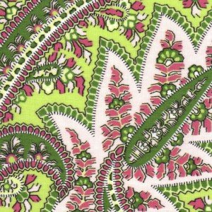 Fabric Finders pink & green paisley, print 1970,100% Cotton print, 60 wide