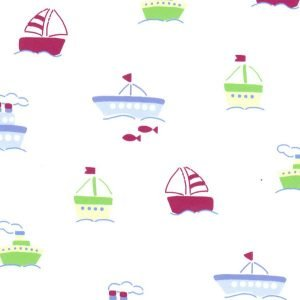 Fabric Finders Boat Print on White Background Pique 2007