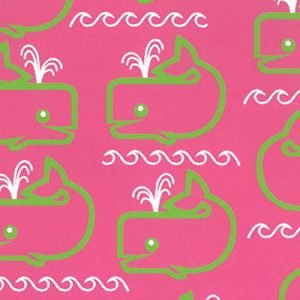 Fabric Finders 2084, pink and green whales