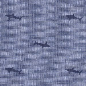 Fabric Finders 2101,sharks on chambray,100% cotton