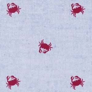 Fabric Finders Red crabs on blue chambray 2108