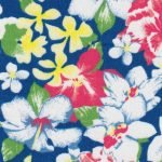 FF Floral Lawn on Blue Background Printed  #2311