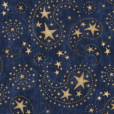 Q - Quilting Treasures - Stars & Stripes Forever - Blue with Stars