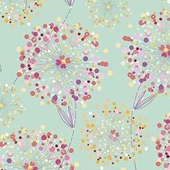 Q - Quilting Treasures - Confetti Blossoms - Medium Seafoam