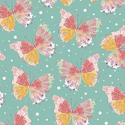 Q - Quilting Treasures - Confetti Blossoms - Dark Seafoam