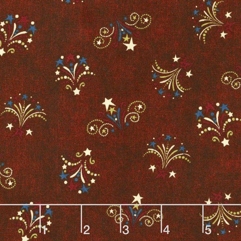 Q - Quilting Treasures - Stars & Stripes Forever - Brown