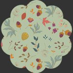 Art Gallery Fabrics, Autumn Vibes,ATV-87209 Acorns & Pinecones Mint