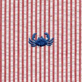 Fabric Finders blue crab on red, 100%Cotton, 60 wide