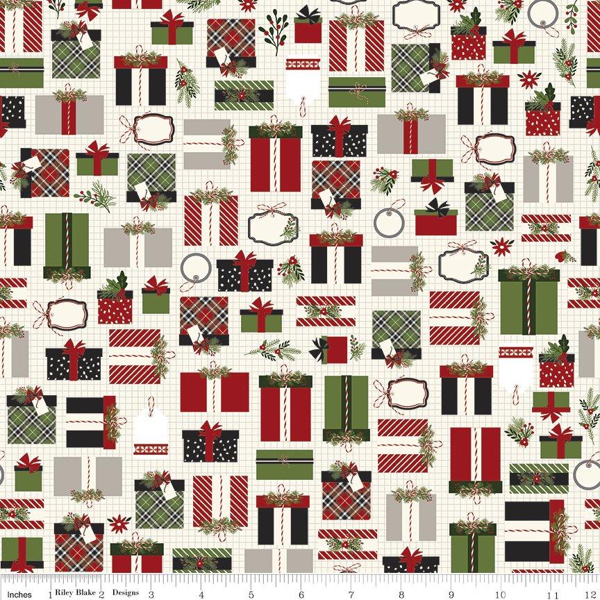 Riley Blake Christmas Delivery,C7331-cream,presents