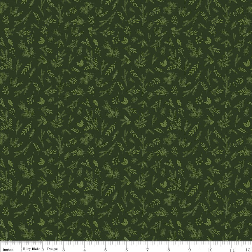 Riley Blake Christmas Delivery,C7334-green sprigs