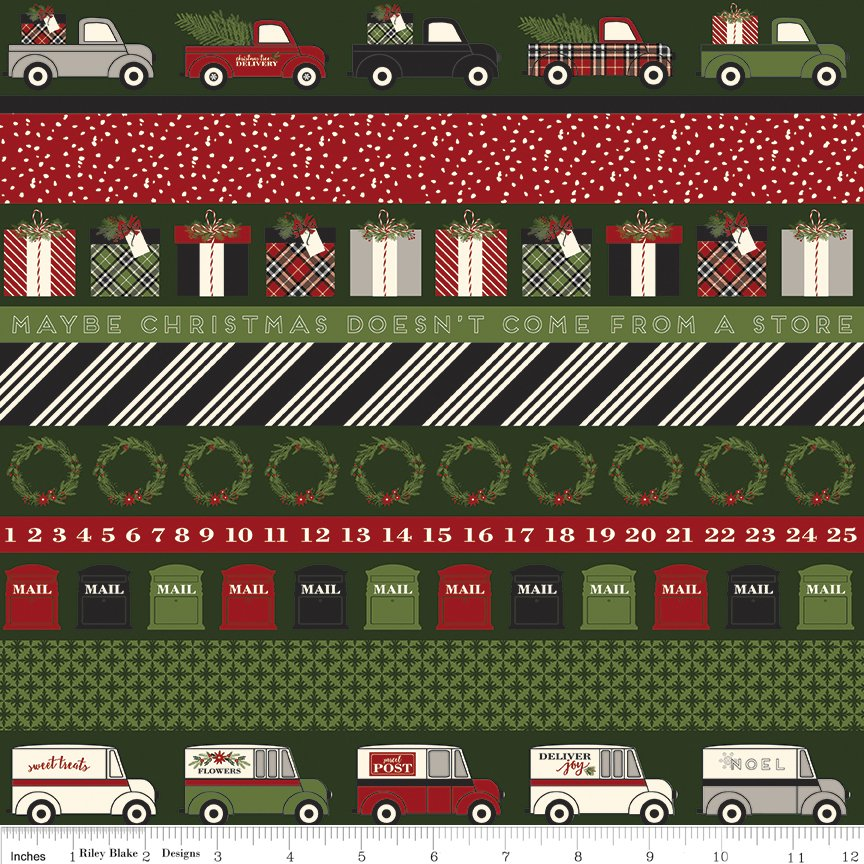 Riley Blake Christmas Delivery,C7337-green stripe