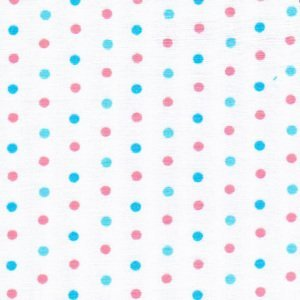 Fabric Finders 1784 Pink and Aqua Dots on White