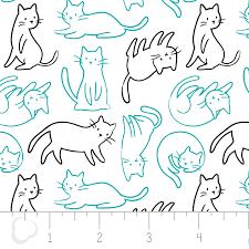 Camelot Fabrics - Meow Felines Aqua
