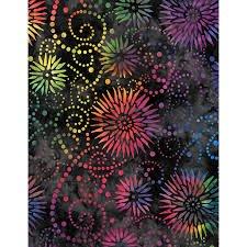 Q - Flower Burst 108 - Black Multi by Wilmington Prints