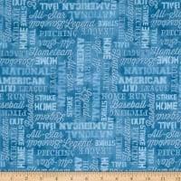 Q - 7th Inning Stretch - Baseball Words Allover - Blue
