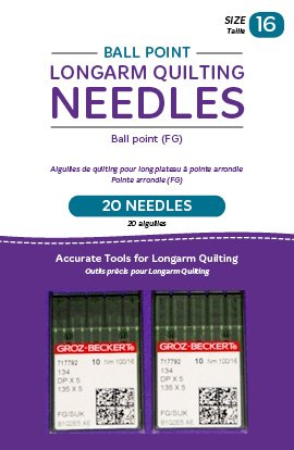 Ball Point Longarm Quilting Needles - Two Packages of 10 - size 16