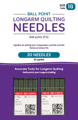 Ball Point Longarm Quilting Needles - Twenty Needles - Size 18