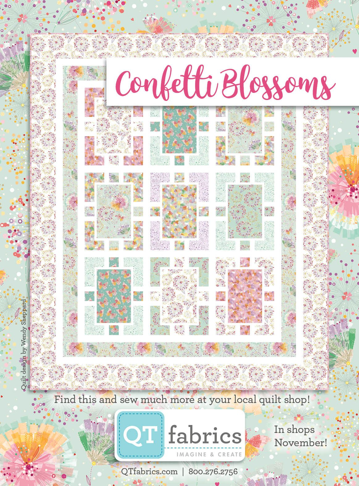Q - Confetti Blossoms Quilt Kit