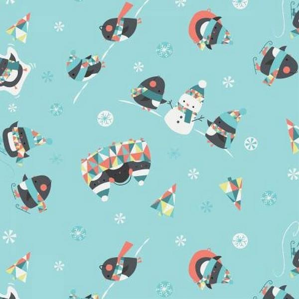 Q - Camelot Fabric - Oh What Fun! - Penguins