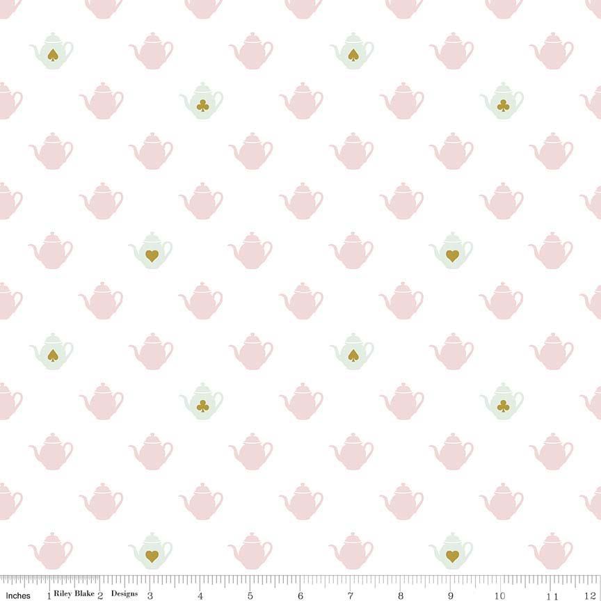 Riley Blake Wonderland 2 Tea Pot White Sparkle SC5773