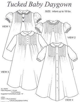 Collars, Tucked Baby Daygown, Size infant to 18lbs