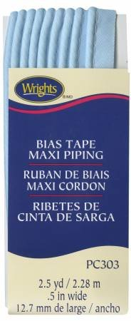 Wrights Bias Tape Maxi Piping - 1/2 by 2-1/2 yards, Light Blue