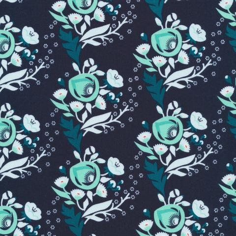 Poppy Turquoise - Cloud 9 Fabrics - Vignette Collection - Organic