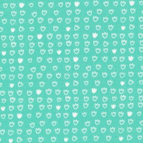 Tulip Turquoise - Cloud 9 Fabrics - Vignette Collection - Organic